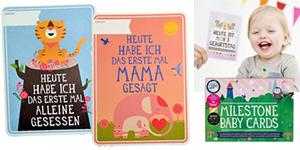 Babykarten, Babygeschenke, Erinnerungskarten, Milestone Cards, Meilenstein Karten, Karten, Sprüche, Festlegen Babys erste Schritte, Babymomenten, Kindersprüche,
